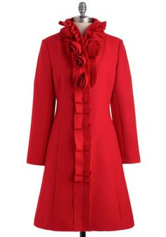 $177.99 Car-length red coat with rosettes and rippled fabric trim