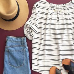 Striped Blouse with Gold Bar Trim