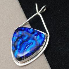 Blue Dichroic Glass & Sterling Silver Pendant