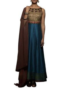 Blue Chanderi Anarkali Suit