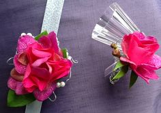Composite flower: rose and orchid. Corsage and boutonniere by Kaas Floral Design Corsage And Boutonniere, Wedding Images, Orchids, Floral Design, Rose, Flowers, Pink, Floral Patterns, Florals