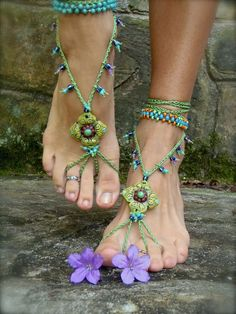 PISTACHIO BAREFOOT sandals green SANDALS crochet beaded foot jewelry beach wedding bohemian gypsy shoes photo shoot props made to order. $64.00, via Etsy.