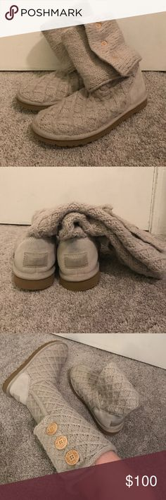 Lattice Cardy Ugg Boots (Sand) Light Greyish/ Off White color. Three Buttons Up. Knit. Bought at the Walking Company. 100% Authentic. Barely Worn, couldn't find the right outfit I liked with it. UGG Shoes Winter & Rain Boots
