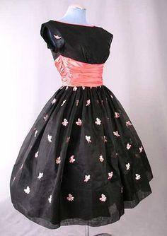 Vintage black with pink sash dress