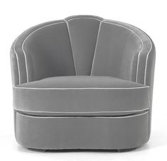 Grey really is sexy. In lust with this sleek Art Deco inspired chair by MUNNA. Leather and white leather piping ?