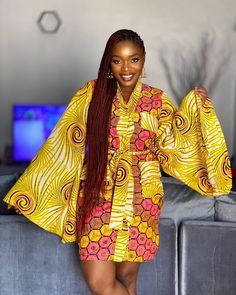 Wrap Ankara Style With Bell Sleeves Latest Ankara Gown, Latest African Fashion Dresses, African Print Dresses, Ankara Wedding Styles, Ankara Gown Styles, Beautiful Ankara Styles, Trendy Ankara Styles, Simple Dress Styles, Simple Dresses