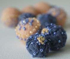 Felt Beads Extra large Beads Blue and Peach shades Beads