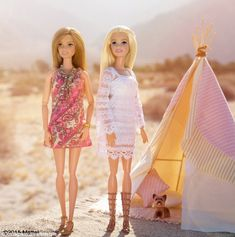 Chic at Coachella: Barbie travels to buzzed-about events like Coachella, pictured here, with friends, Ken, and sometimes even her dog