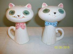 Vintage Holt Howard Winking Cat Salt Pepper Shakers Winky Blinky Meow Japan  