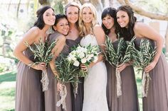 """Simplicity is making a comeback in a world full of complex designs, and these bouquets are the perfect example. """"The bride wanted something more verdant. Olive branches are a symbol of peace, and it lent a feeling of serenity to the day,"""" says Carissa Jones, owner of JL Designs.Related: 25 Gorgeous Bouquets for Winter Weddings"""