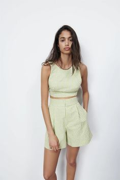 Summer Outfits, Cute Outfits, Summer Clothes, Gingham Shorts, 21st Dresses, Gingham Check, Zara United States, High Waisted Shorts, Dress Skirt