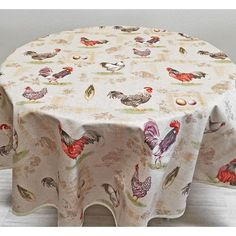 French Hens And Roosters Tablecloth, Round Tablecloth, French Country  Tablecloth, Acrylic Coated Tablecloth
