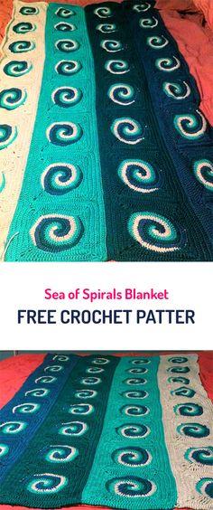 Sea of Spirals Blanket Free Crochet Pattern #crochet #yarn #crafts #homedecor