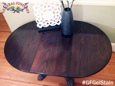 Grifton Painted Furniture, https://www.facebook.com/GriftonPaintedFurniture?fref=ts, did an amazing job revitalizing this table top!  It was stained with GF Java Gel Stain. #generalfinishes #javagel #gfgelstain