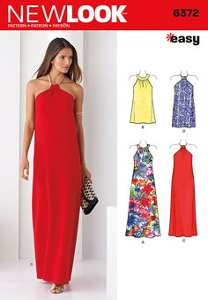 Draw major attention with this easy-to-wear, easy-to-sew maxi cocktail dress – perfect for those summer parties! Dresses can be sleeveless with key hole neckline in maxi or short lengths, and halter in maxi length with back slit, or short length. DIY with New Look pattern 6372.