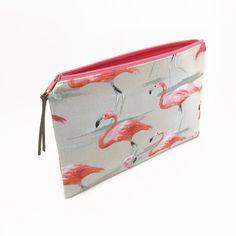 Clutch zipper bag Flamingo Clutch purse Flamingoes by NoLongerBlue
