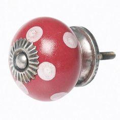 Deurknop rood met witte stippen
