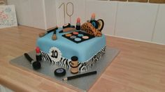 """Make-up Cake for a very special young lady. """"Happy 10th Birthday""""!!!!"""