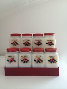 Vintage Kitchen Spice Rack  set of 8 / 1950's by lalovelyvintage