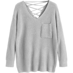 V Neck Lace Up Back Pullover Sweater Gray ($30) ❤ liked on Polyvore  featuring