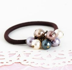 Beaded Hair Elastic With Multicolored Pearls  by JacarandaDesigns, $8.00