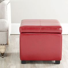 Red Leather Storage Ottoman Bedroom Furniture Seat Wooden Frame Feet Upholstered
