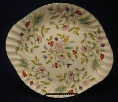 Minton Handled Cake Plate Holly Berry Green Trim England Chintz Floral Swirl  #Minton
