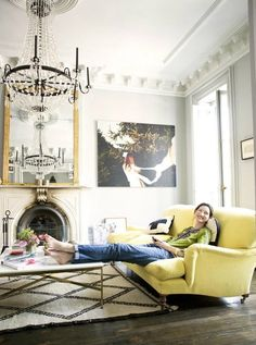 Benjamin Moore Revere Pewter with a Madeline Weinrib Vintage Moroccan Carpet in Jenna Lyon's home, via Living Etc @Kat Ellis Gubicza Murphy