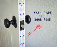 washi tape door decor