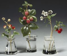 Wild strawberry, Raspberry, Cherry | c. 1900 Rock crystal, gold, nephrite, enamel, pearl. royalcollection.org.uk