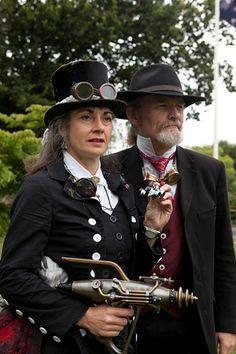 steampunk fashion (male & female) + ray gun