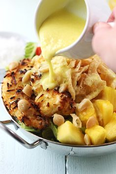 Pina Colada Chicken Salad with Pina Colada Vinaigrette - 18 Super-Healthy Chicken Salads | GleamItUp