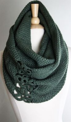 no longer a good link - what a great idea, though:  use crochet medallions to join ends of a scarf into a cowl or infinity scarf!