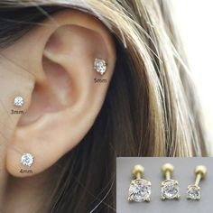 5mm Chinese Freshwater Cultured Pearl 14K White Gold Stud Tragus Lip Labret Ring 14G 1//4