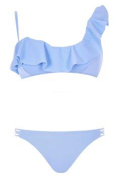 Shop the top swimsuit trends of Summer 2016 | pastel asymmetric one shoulder bikini from @riverisland