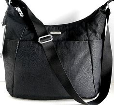f9886c0e61 NEW BAGGALLINI Travel Hobo Black Zebra Embossed Nylon Crossbody Shoulder Bag