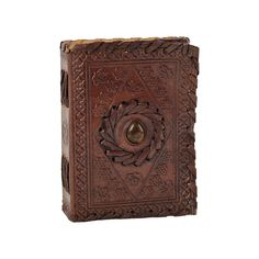 Amber Stone Inlay Small Leather Journal
