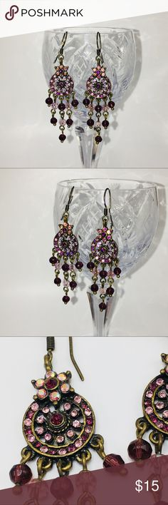 50e52e9e3 Victorian crystal drop chandelier earrings Victorian crystal drop  chandelier earrings pretty pink wine colored Swarovski elements