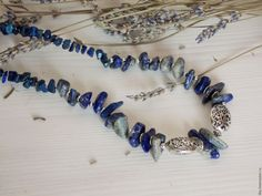 Купить Колье из лазурита - тёмно-синий, колье, лазурит, подарок, украшения ручной работы