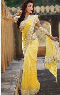 Lemon Yellow Designer Saree With Blouse (VIG1228) - OnlineDesignerStore.com