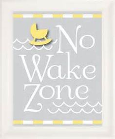 No wake zone in a nautical Navy, Gray and Yellow nursery.