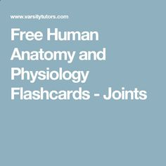 Free Human Anatomy and Physiology Flashcards - Joints