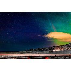 Aurora Borealis or Northern Lights Reykjanes Peninsula Iceland Canvas Art - Panoramic Images (36 x 12)