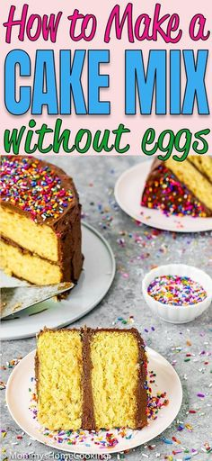 my trick about How to Make a Cake Mix Box without Eggs. Pure convenience and amazingly delicious!Learn my trick about How to Make a Cake Mix Box without Eggs. Pure convenience and amazingly delicious! Egg Free Desserts, Cake Mix Desserts, Eggless Desserts, Eggless Recipes, Eggless Baking, Egg Free Recipes, Cake Mix Cookies, Easy Recipes, Vegan Recipes