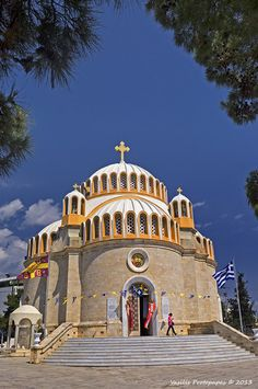 Agios Konstantinos and Agia Eleni church in Glyfada town of Athens Beautiful Places To Visit, Places To See, Glyfada Greece, Monuments, Sacred Architecture, Cathedral Church, Parthenon, Athens Greece, Place Of Worship