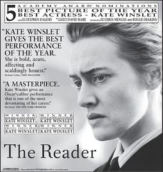 The Reader Roger Deakins, Kate Winslet, Academy Awards, Best Actress, Cool Pictures, Actresses, Movie Posters, Female Actresses, Film Poster