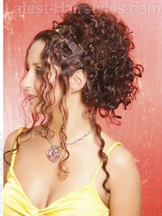 Pinned Up Long Brunette Curly Style with Front Pieces
