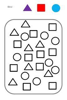 Begeleide of zelfstandige activiteit - Kleur de juiste vorm de juiste kleur Shape Worksheets For Preschool, Shapes Worksheets, Preschool At Home, Learning Centers, Math Centers, Kids Learning, Speech Language Therapy, Speech And Language, Lkg Worksheets