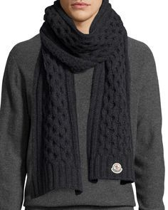 Moncler Men's Cable-Knit Cashmere Scarf, Gray l Bergdorf Goodman Mens Scarf Knitting Pattern, Mens Knitted Scarf, Mens Cashmere Scarf, Men Scarf, Ways To Wear A Scarf, How To Wear Scarves, Crochet Men, Sweaters And Jeans, Knit Fashion