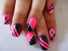 Hot Pink & Black Strips Nails.